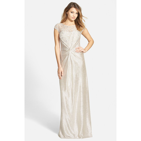 HAILEY BY ADRIANNA PAPELL metallic front twist gown - Swirling lace romances the bodice of this gorgeous...
