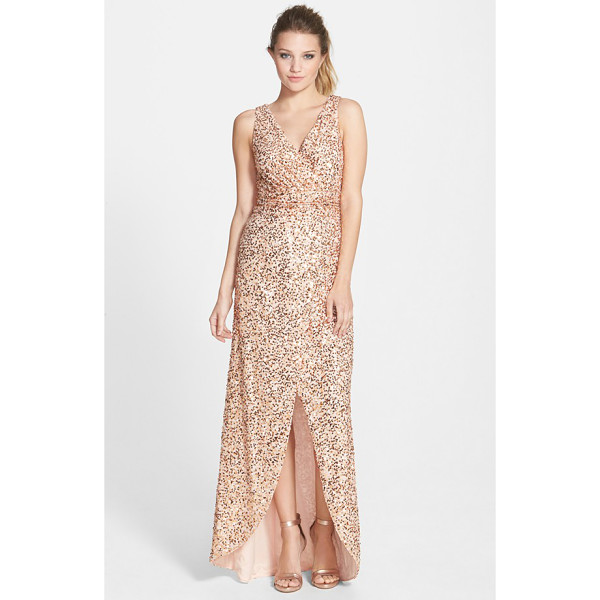 HAILEY BY ADRIANNA PAPELL sequin faux wrap gown - Radiant sequins blanket this gorgeous gown with soft golden...