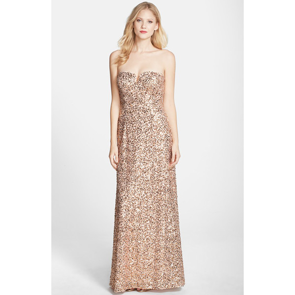 HAILEY BY ADRIANNA PAPELL sequin strapless gown - Flashy metallic sequins are sprinkled all over a radiant...