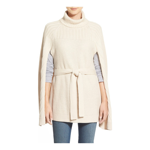 HALOGEN belted turtleneck poncho - A tie belt adds waist-defining polish to a sweater-knit...