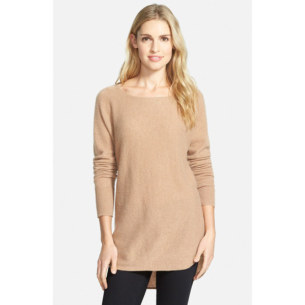HALOGEN cashmere high/low tunic - A ballet neckline and a high/low shirttail hem provide...
