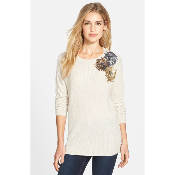 HALOGEN corsage embellished merino & cashmere sweater - Sequined blooms at one shoulder create a pretty corsage...