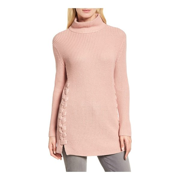 HALOGEN halogen lace-up side tunic sweater - Wide ribbons lace up the sides of this cashmere-kissed...