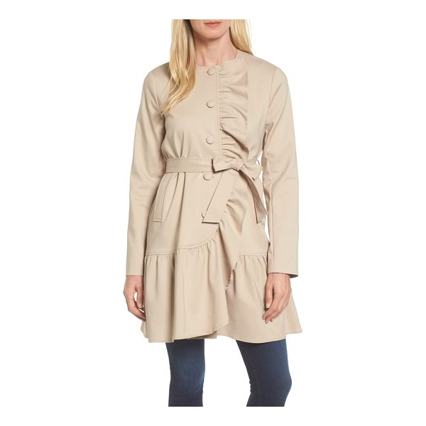 HALOGEN halogen ruffled trench coat - Lush ruffles cascade down the front and float along the hem...