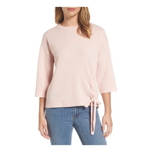 HALOGEN halogen side tie wool and cashmere sweater - Lace-up detail at the hem adds understated style to this...