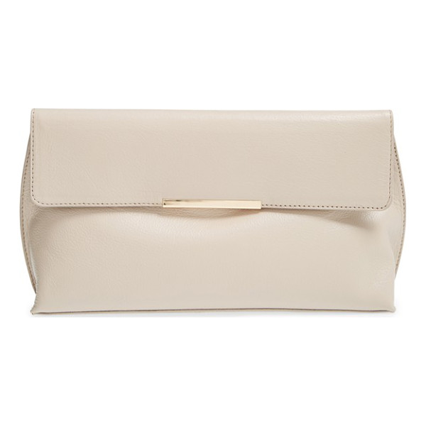 HALOGEN Magnolia leather clutch - A sleek metallic bar draws attention to the supple, grained...