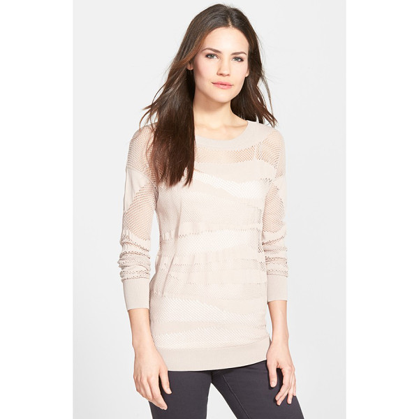 HALOGEN mesh pattern sweater - A long crewneck pullover makes a pretty layering piece with...