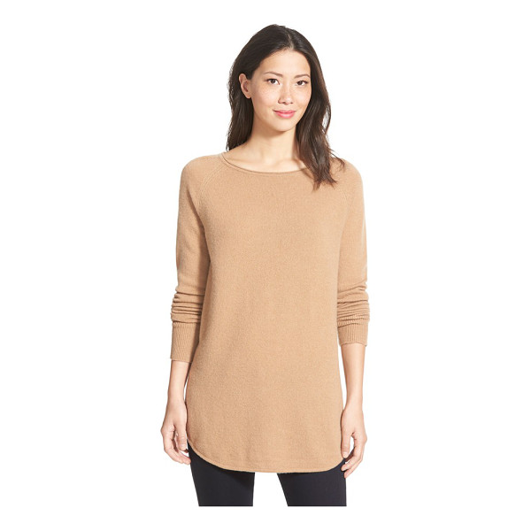 HALOGEN halogen shirttail wool & cashmere boatneck tunic - Available in a stack of colors, a soft knit blended from...