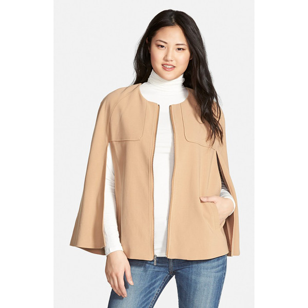 HALOGEN twill cape - Collarless design and rounded shoulders create a softly...