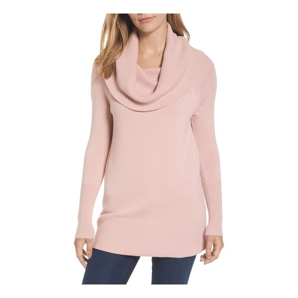 HALOGEN halogen convertible neck sweater - The ribbed fold on this cozy, merino wool-infused knit...