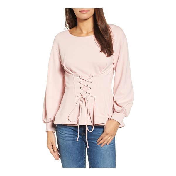 HALOGEN halogen corset detail top - Feminine bubble sleeves and a clever corseted waist add...