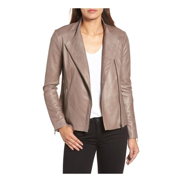 HALOGEN halogen asymmetrical leather jacket - An asymmetrical zipper cuts down the front of this sleek...