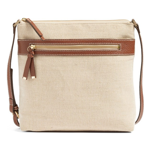 HALOGEN halogen canvas crossbody bag - Stay casual yet refined with a woven crossbody bag trimmed...
