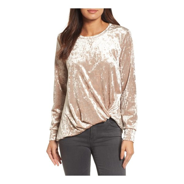 HALOGEN halogen crushed velvet front tie top - A luxurious crushed velvet texture emboldens this cozy...