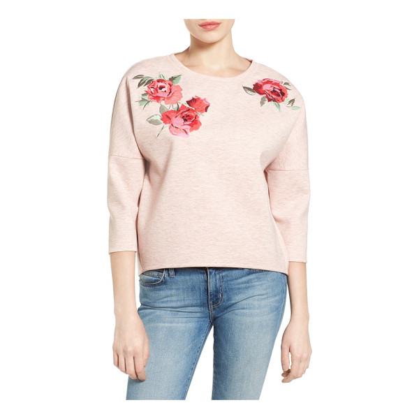 HALOGEN halogen embroidered knit top - Colorful floral embroidery romances a laid-back knit top...