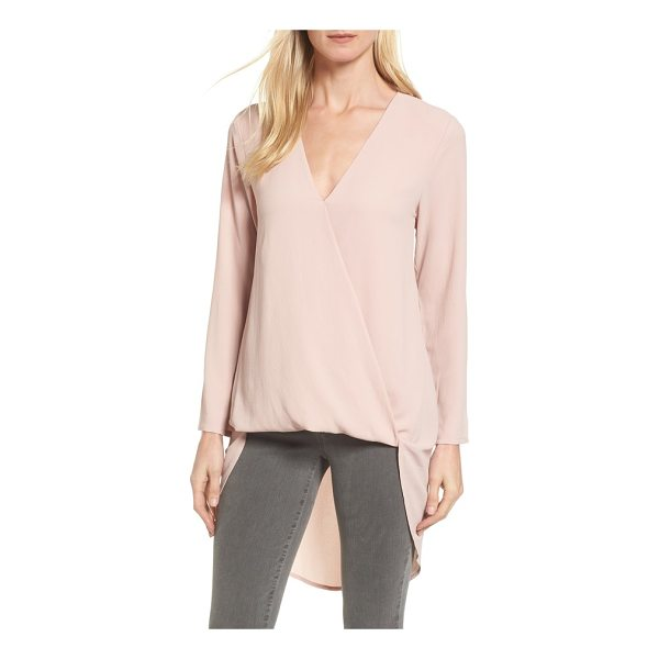 HALOGEN halogen high/low wrap top - The front of this faux wrap top gathers for an effortless...