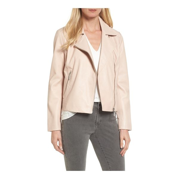 HALOGEN halogen leather moto jacket - Pared-down detail keeps your look clean and timeless in a...