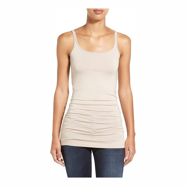 HALOGEN halogen long layering tank - Thin straps with a double-scoop neckline begin a jersey...