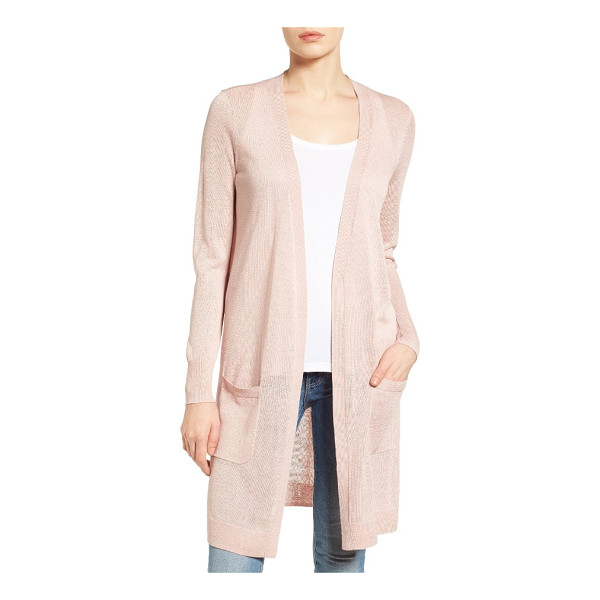HALOGEN halogen long linen blend cardigan - Elegantly long and infinitely versatile, a simply styled...