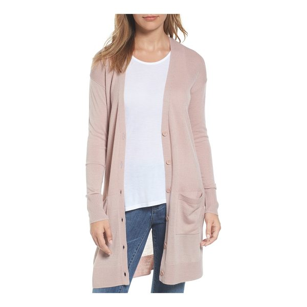 HALOGEN halogen rib knit wool blend cardigan - Ribbed stitching through the torso enhances the long, slim...
