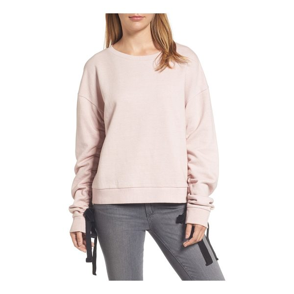 HALOGEN halogen ruched tie sleeve sweatshirt - Velvety ribbons accent the ruched sleeves of a dressed-up...