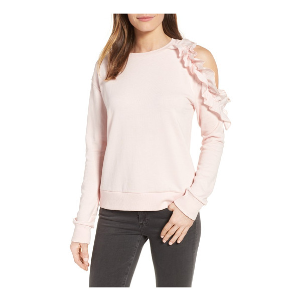 HALOGEN halogen ruffled cold shoulder sweatshirt - Cozy meets flirty in this classic French-terry sweatshirt...