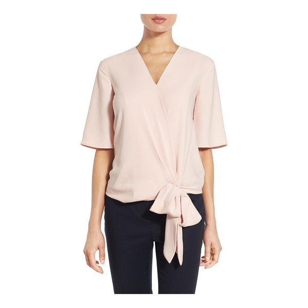 HALOGEN Halogen short sleeve wrap front blouse - Softly flowing ties at the front waist reinforce the...