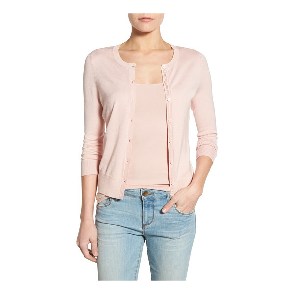 HALOGEN halogen three quarter sleeve cardigan - An enduring favorite, the crewneck button-up cardigan, is...