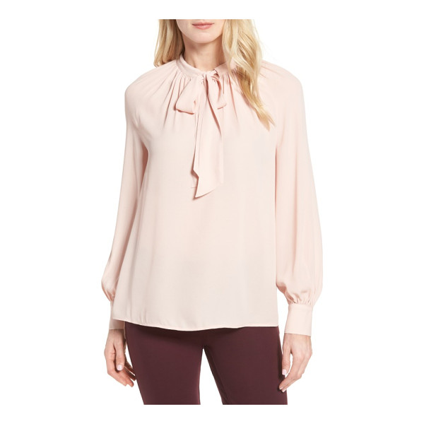 HALOGEN halogen tie neck blouse - Soft gathers and flowing ties at the banded neckline...