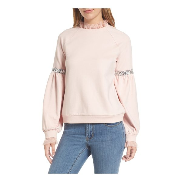 HALOGEN halogen tulle and sequin sweatshirt - Your favorite casual crewneck gets jazzed up with glittery...