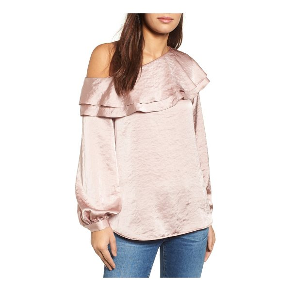 HALOGEN halogen one-shoulder ruffle top - This lustrous ruffled shirt is effortlessly shrugged off...