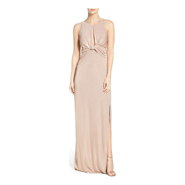 HALSTON knotted gown - A sleek twist and plunging keyhole front add bold, modern...