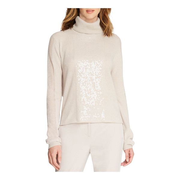 HALSTON sequin cashmere turtleneck - A smattering of tonal sequins illuminates the front of a...