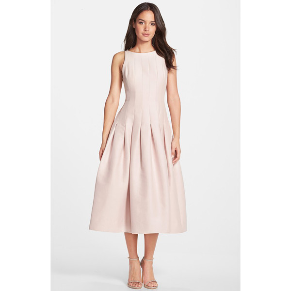 HALSTON sleeveless structured midi dress - A sleeveless cocktail dress fashioned from a faille blend...