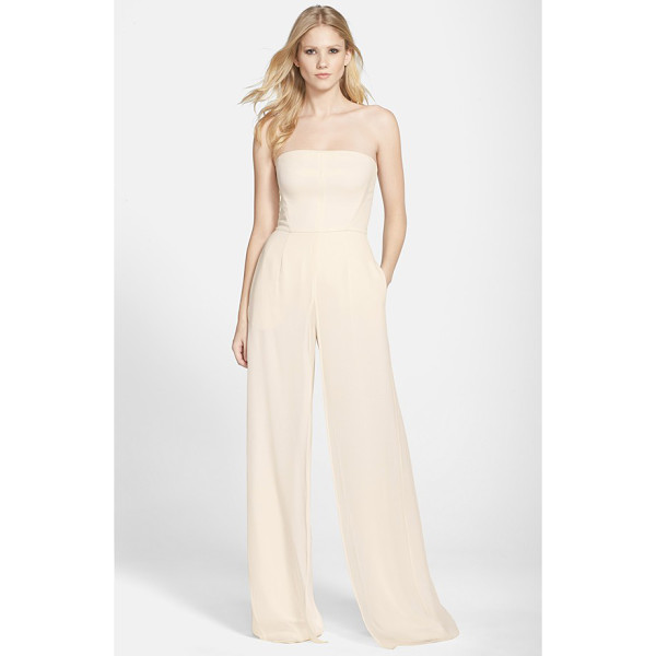 HALSTON wide leg jumpsuit - An added layer of airy georgette enhances the voluminous...