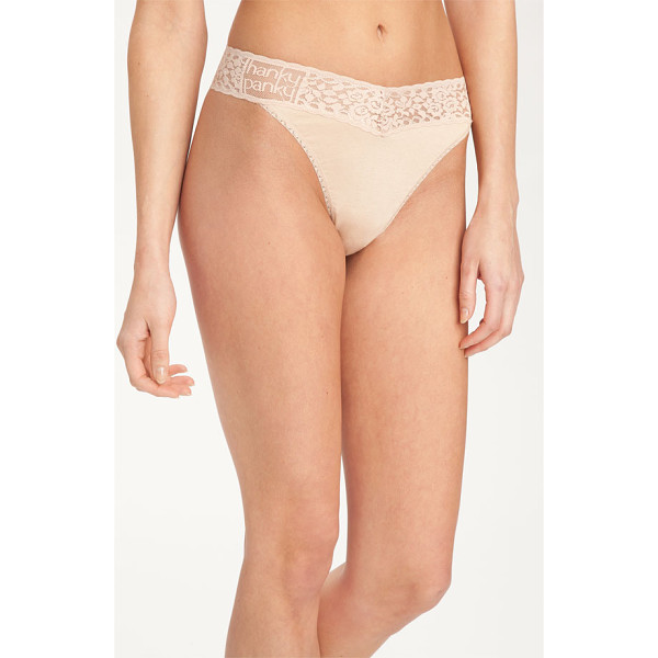 HANKY PANKY 'logo' original rise thong - A logo brands the lace waistband of a soft, stretchy thong...