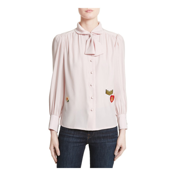 HARVEY FAIRCLOTH boy scout patch silk blouse - Blending ladylike sophistication with tomboyish spirit,...