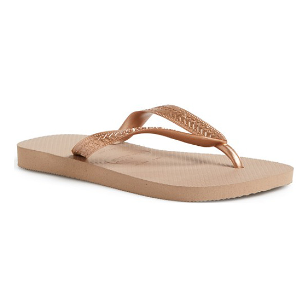HAVAIANAS metallic top thong sandal - Casual style in fresh fruity hues, with shimmering straps...