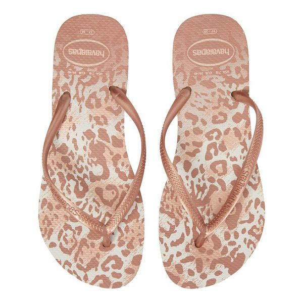 HAVAIANAS 'slim animal print' flip flop - Fun animal print spices up the buttery-soft footbed on a...