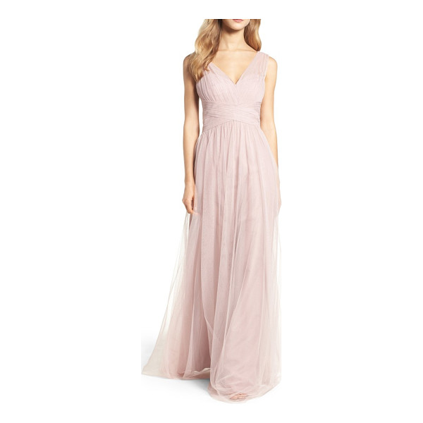 HAYLEY PAIGE OCCASIONS illusion gown - A gathered-tulle gown is designed for universal flattery...