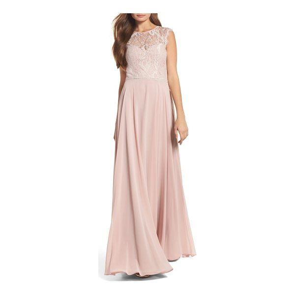 HAYLEY PAIGE OCCASIONS lace & chiffon gown - Scrolling lace adds an elegant touch at the bodice of a...