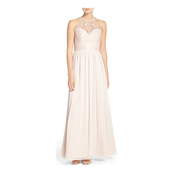HAYLEY PAIGE OCCASIONS lace & chiffon halter gown - Romantic lace overlays the fitted sweetheart bodice of a...