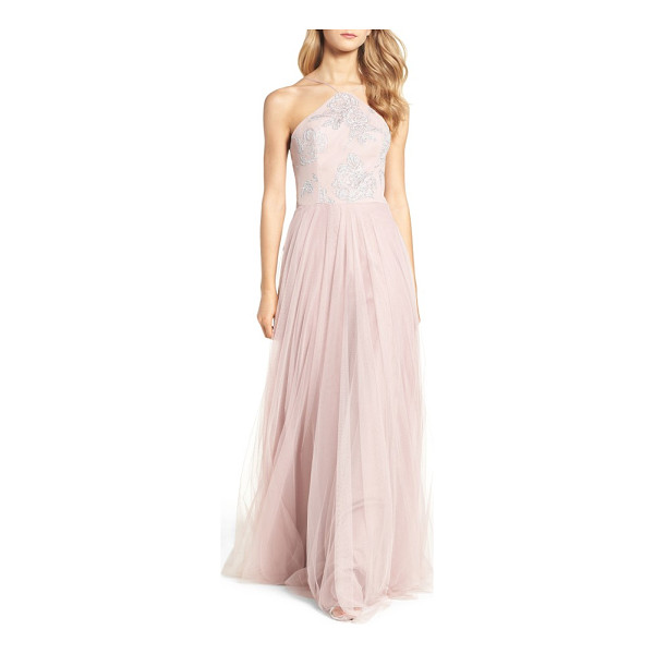 HAYLEY PAIGE OCCASIONS metallic embellished gown - Glistening floral detail covers the modified-halter bodice...