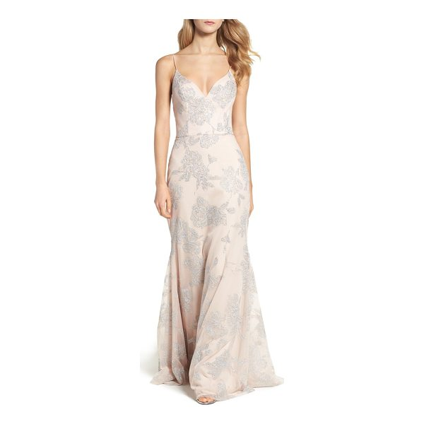 HAYLEY PAIGE OCCASIONS metallic tulle gown - Glistening details blossom all over this fitted yet flowy...