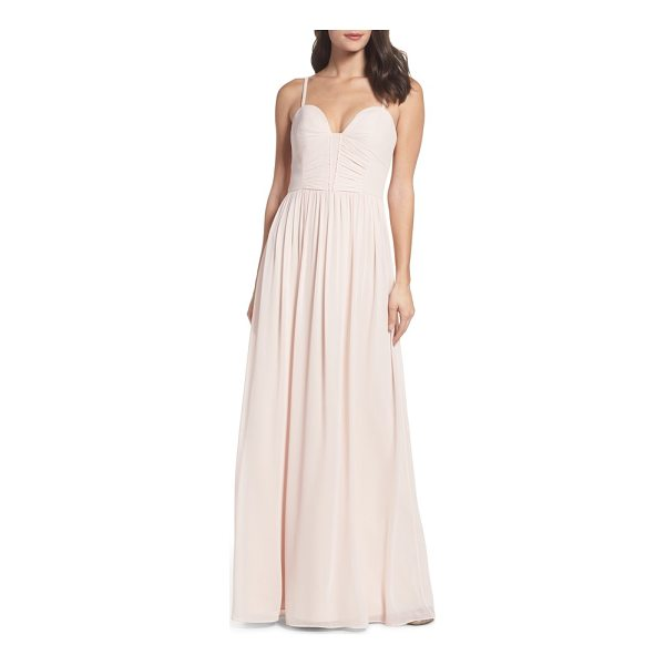 HAYLEY PAIGE OCCASIONS ruffle detail a-line chiffon gown - Dainty, delicate ruffles detail the ruched sweetheart...
