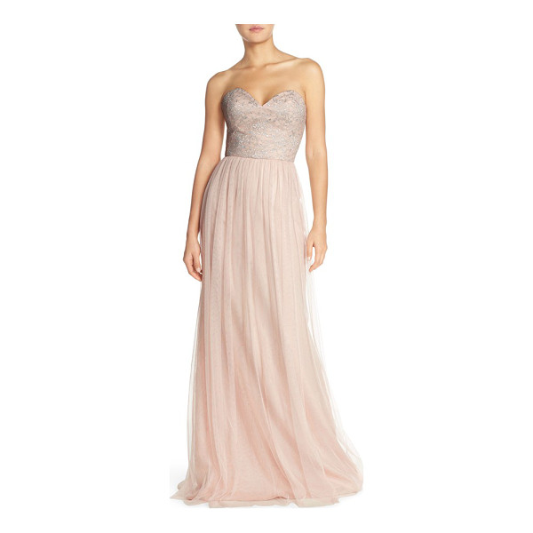 HAYLEY PAIGE OCCASIONS strapless metallic lace & net gown - Silvery shimmer wraps moonlight gleam around a captivating...