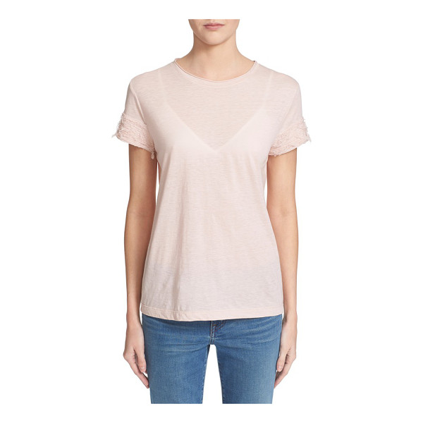 HELMUT LANG cotton & cashmere tee - A rolled jewel neckline and ruched cuffs with unraveled...
