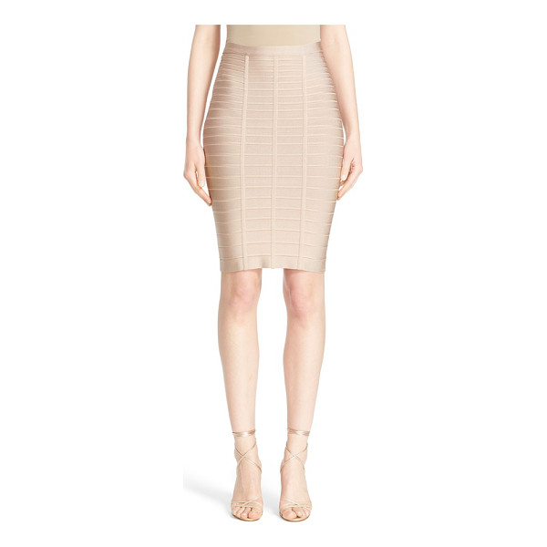 HERVE LEGER bandage pencil skirt - Dense, stretchy knit bands trace and sculpt every curve on...