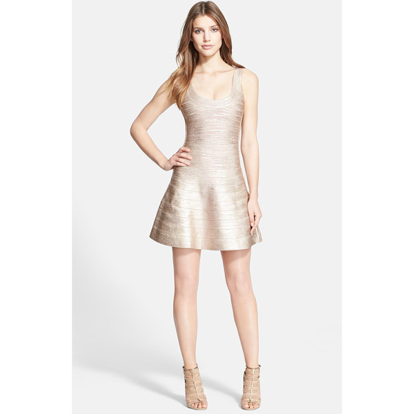 HERVE LEGER bandage tank dress - Metallic ombre coloring ices a short tank dress with frigid...