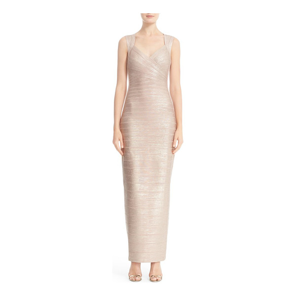 HERVE LEGER estrella metallic foil bandage gown - Organic woodgrain texture and a resplendent rose-gold sheen...